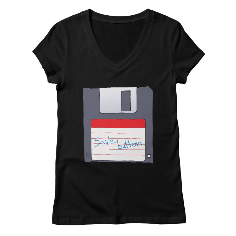 Save Button Women's V-Neck by V. P. Rigel's Intergalactic Corner!
