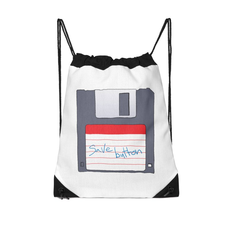 Save Button Accessories Drawstring Bag Bag by V. P. Rigel's Intergalactic Corner!