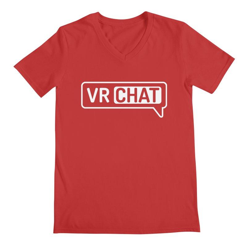 Mens Short Sleeve Shirts - Large White Logo Men's V-Neck by VRChat Merchandise