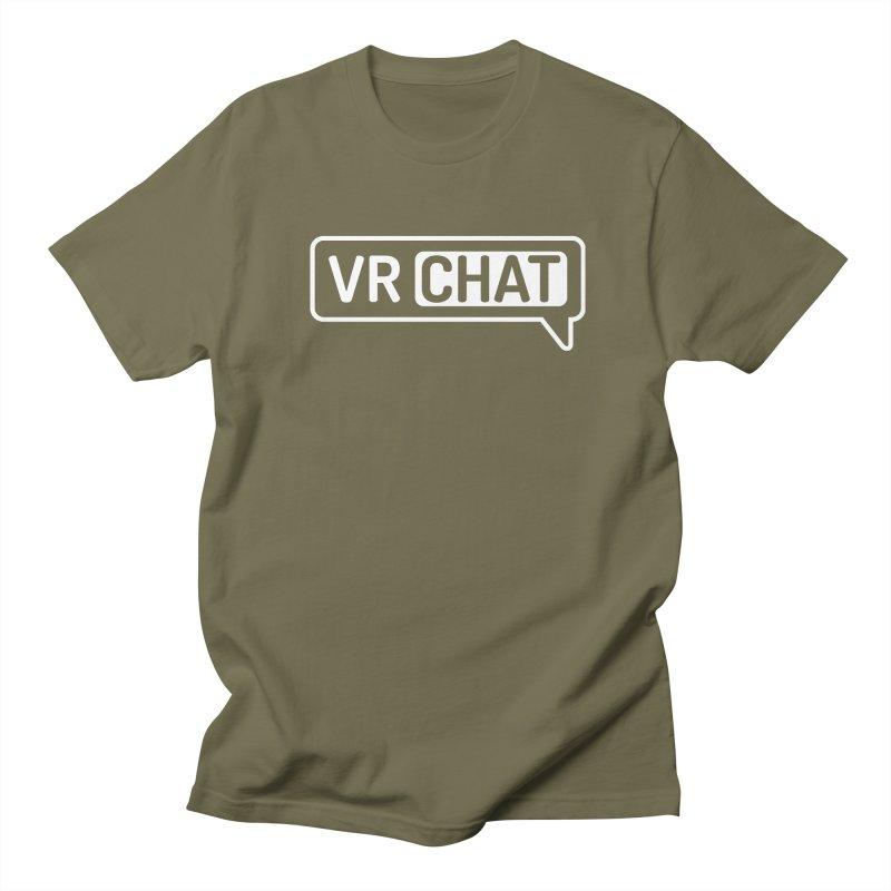 Mens Short Sleeve Shirts - Large White Logo Men's T-Shirt by VRChat Merchandise