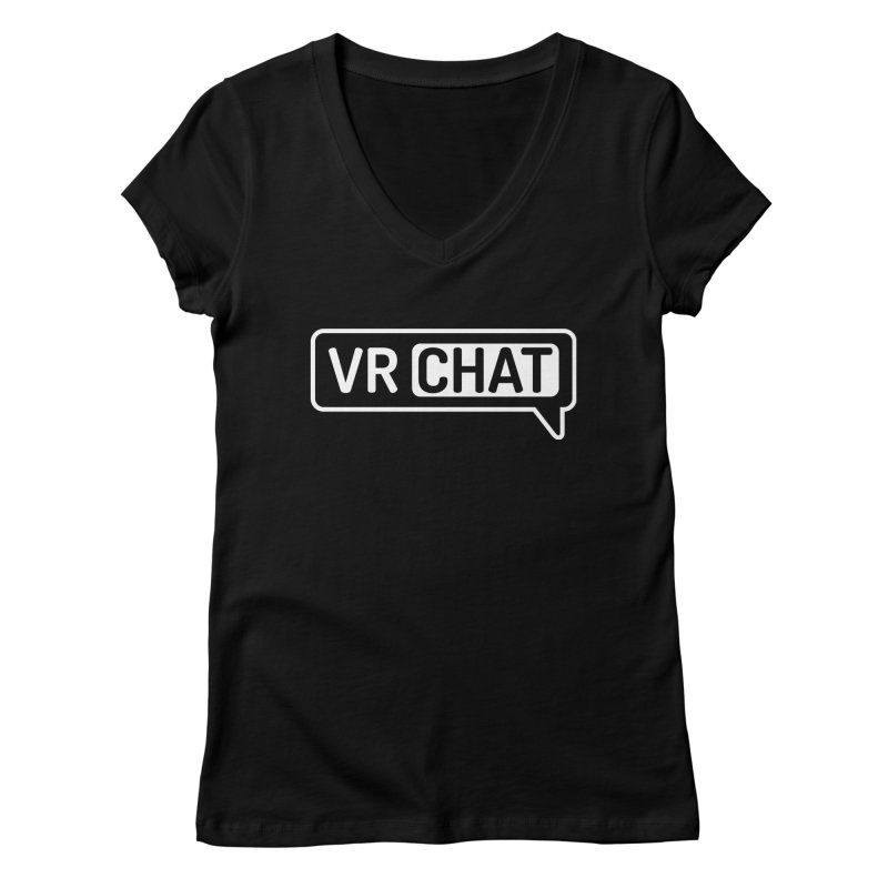Mens Short Sleeve Shirts - Large White Logo Women's Regular V-Neck by VRChat Merchandise