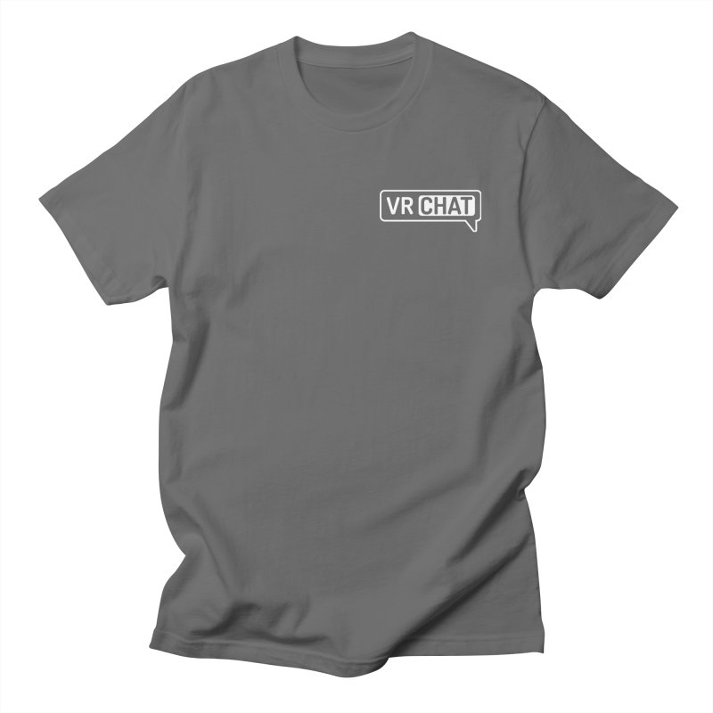 Mens Short Sleeve Shirts - Small White Logo Men's T-Shirt by VRChat Merchandise