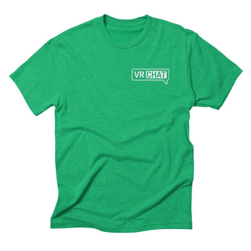Mens Short Sleeve Shirts - Small White Logo Men's Triblend T-Shirt by VRChat Merchandise