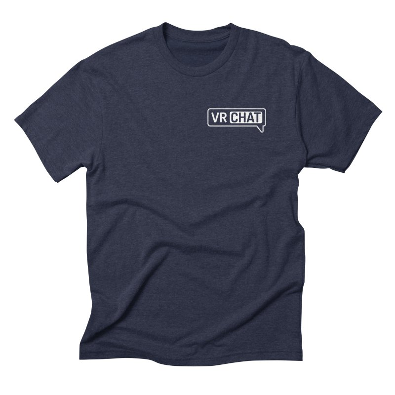 Mens Short Sleeve Shirts - Small White Logo Men's Triblend T-Shirt by VRChat Merchandise
