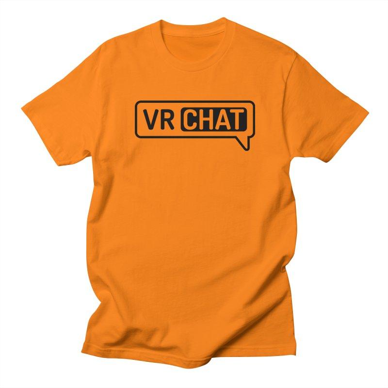Mens Short Sleeve Shirts - Large Black Logo Men's T-Shirt by VRChat Merchandise