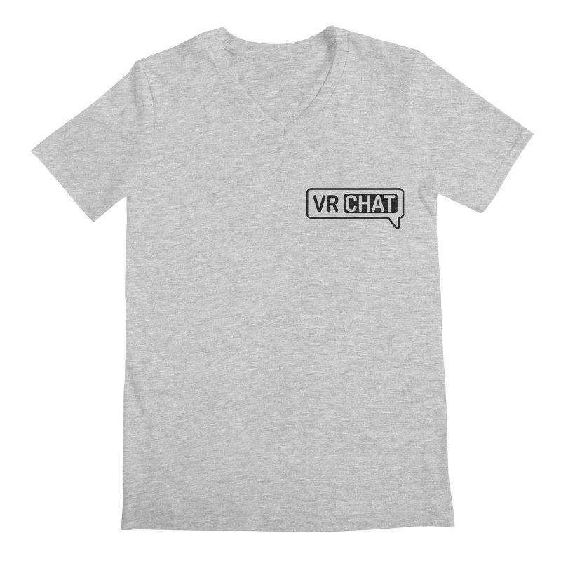 Mens Short Sleeve Shirts - Small Black Logo Men's Regular V-Neck by VRChat Merchandise