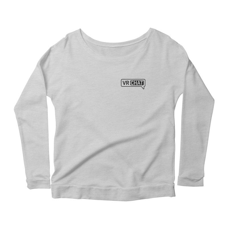 Mens Short Sleeve Shirts - Small Black Logo Women's Scoop Neck Longsleeve T-Shirt by VRChat Merchandise