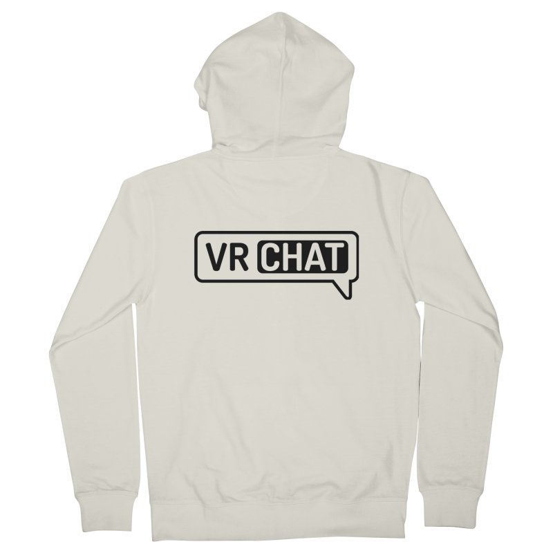 Unisex Zip Up Hoodie - Large Black Logo in Men's French Terry Zip-Up Hoody Heather Oatmeal by VRChat Merchandise
