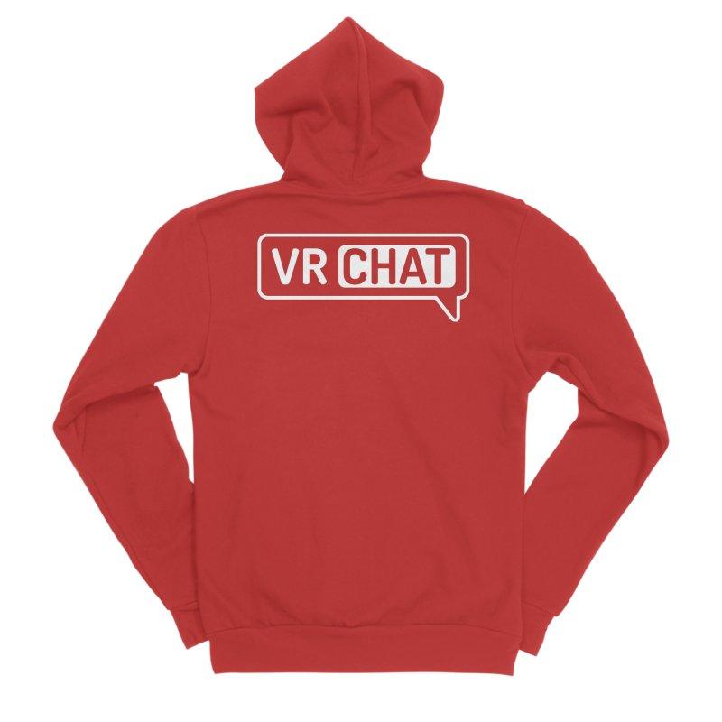 Unisex Sweatshirt - Large White Logo Men's Zip-Up Hoody by VRChat Merchandise