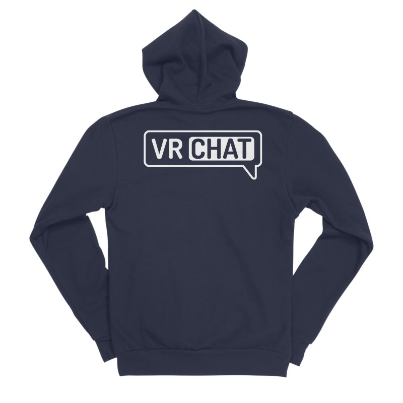 Unisex Sweatshirt - Large White Logo Men's Sponge Fleece Zip-Up Hoody by VRChat Merchandise