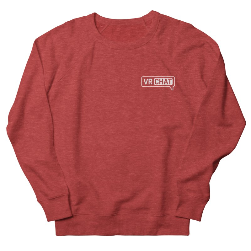 Unisex Sweatshirt - Small White Logo Men's French Terry Sweatshirt by VRChat Merchandise