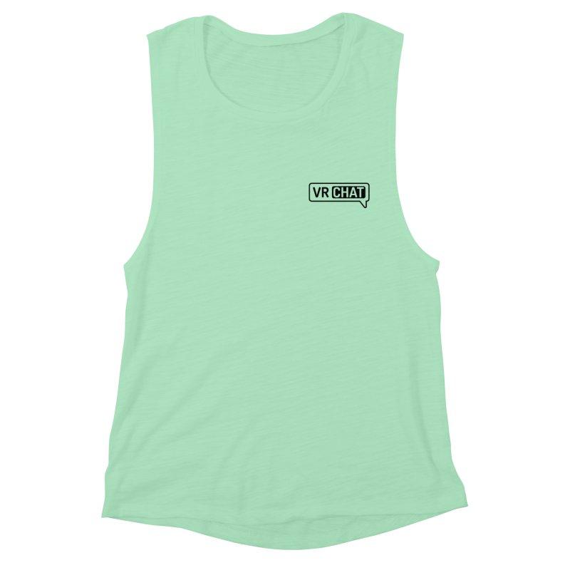 Men's Tank Tops - Small Black Logo Women's Muscle Tank by VRChat Merchandise
