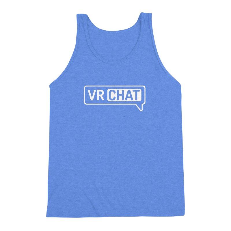 Men's Tank Tops - Large White Logo Men's Triblend Tank by VRChat Merchandise