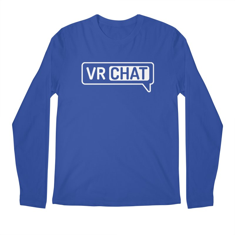 Men's Long Sleeve Shirts - Large White Logo Men's Regular Longsleeve T-Shirt by VRChat Merchandise