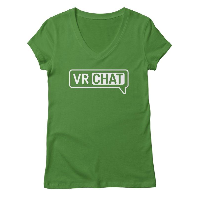 Women Short Sleeve Shirts - Large White Logo Women's Regular V-Neck by VRChat Merchandise