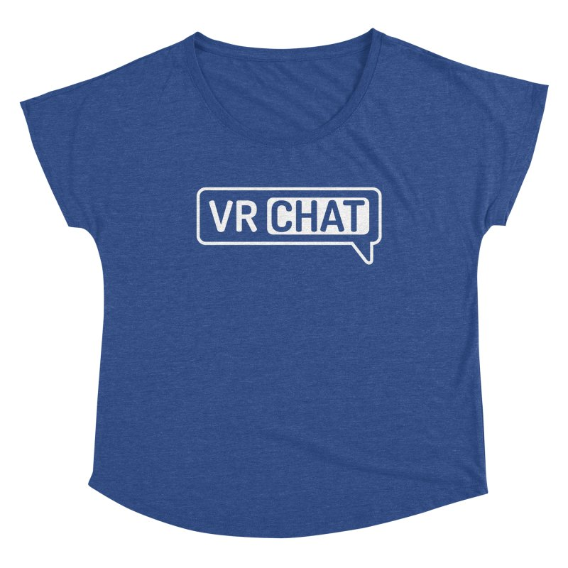 Women Short Sleeve Shirts - Large White Logo Women's Scoop Neck by VRChat Merchandise