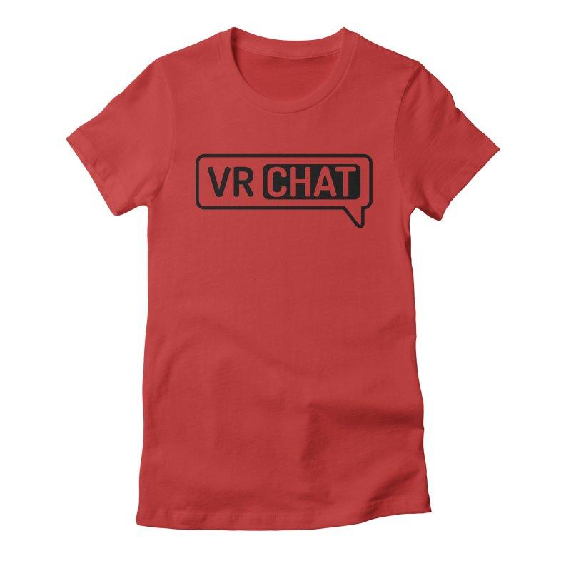 Women Short Sleeve Shirts - Large Black Logo Women's T-Shirt by VRChat Merchandise