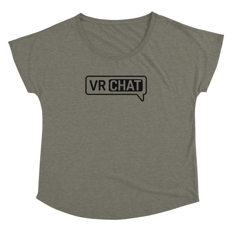 Women Short Sleeve Shirts - Large Black Logo Women's Dolman Scoop Neck by VRChat Merchandise