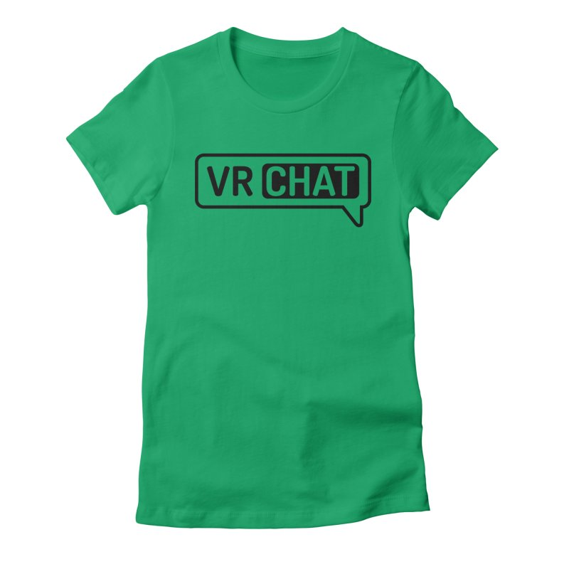 Women Short Sleeve Shirts - Large Black Logo Women's Fitted T-Shirt by VRChat Merchandise