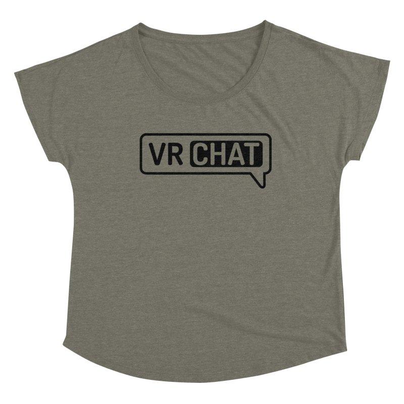 Women Short Sleeve Shirts - Large Black Logo Women's Scoop Neck by VRChat Merchandise