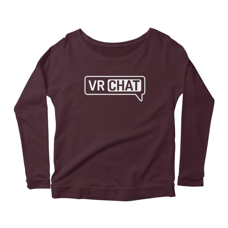 Women Long Sleeve Shirts - Large White Logo Women's Scoop Neck Longsleeve T-Shirt by VRChat Merchandise