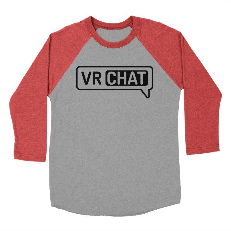 Women Long Sleeve Shirts - Large Black Logo Women's Baseball Triblend Longsleeve T-Shirt by VRChat Merchandise