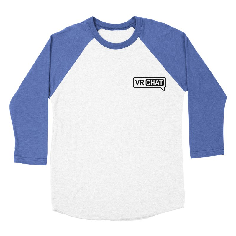 Women Long Sleeve Shirts - Small Black Logo in Women's Baseball Triblend Longsleeve T-Shirt Tri-Blue Sleeves by VRChat Merchandise