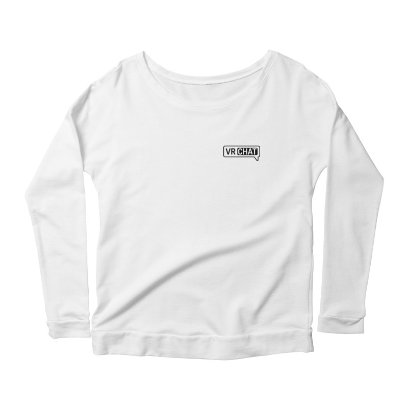 Women Long Sleeve Shirts - Small Black Logo Women's Scoop Neck Longsleeve T-Shirt by VRChat Merchandise