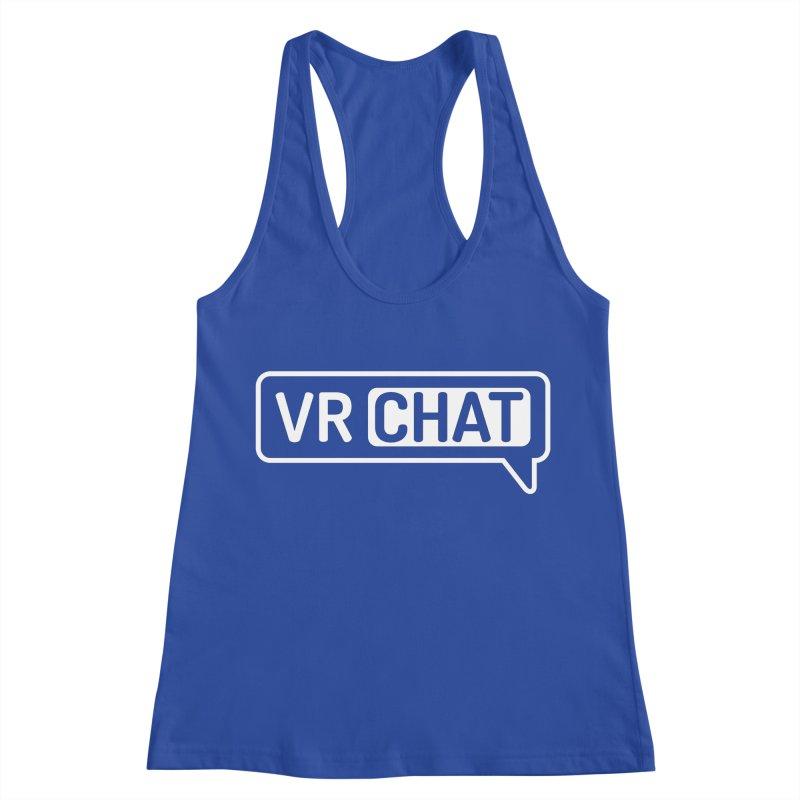 Women's Tank Tops - Large White Logo Women's Racerback Tank by VRChat Merchandise