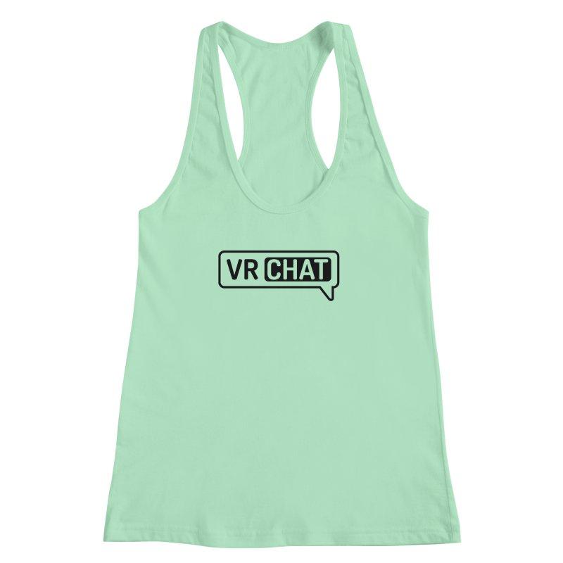 Women's Tank Tops - Large Black Logo Women's Racerback Tank by VRChat Merchandise