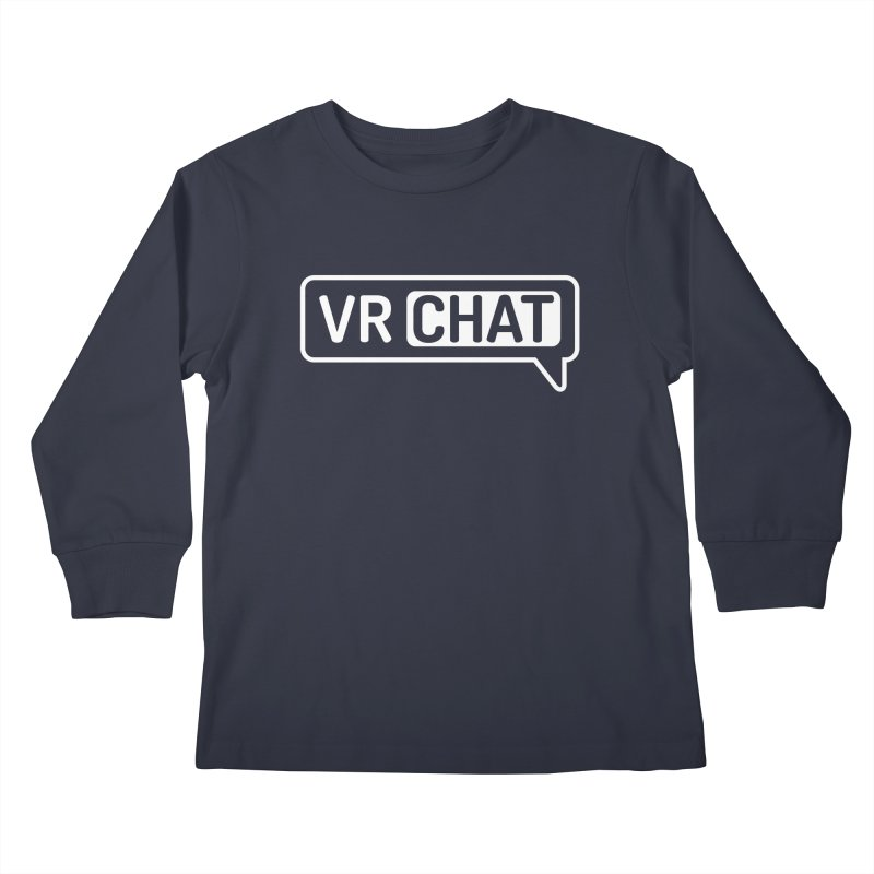 Kid's Long Sleeve Shirts - Large White Logo Kids Longsleeve T-Shirt by VRChat Merchandise