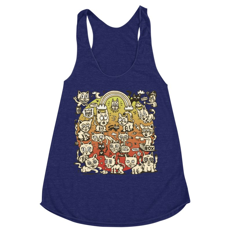 Cats of the World Women's Racerback Triblend Tank by vtavast's Artist Shop