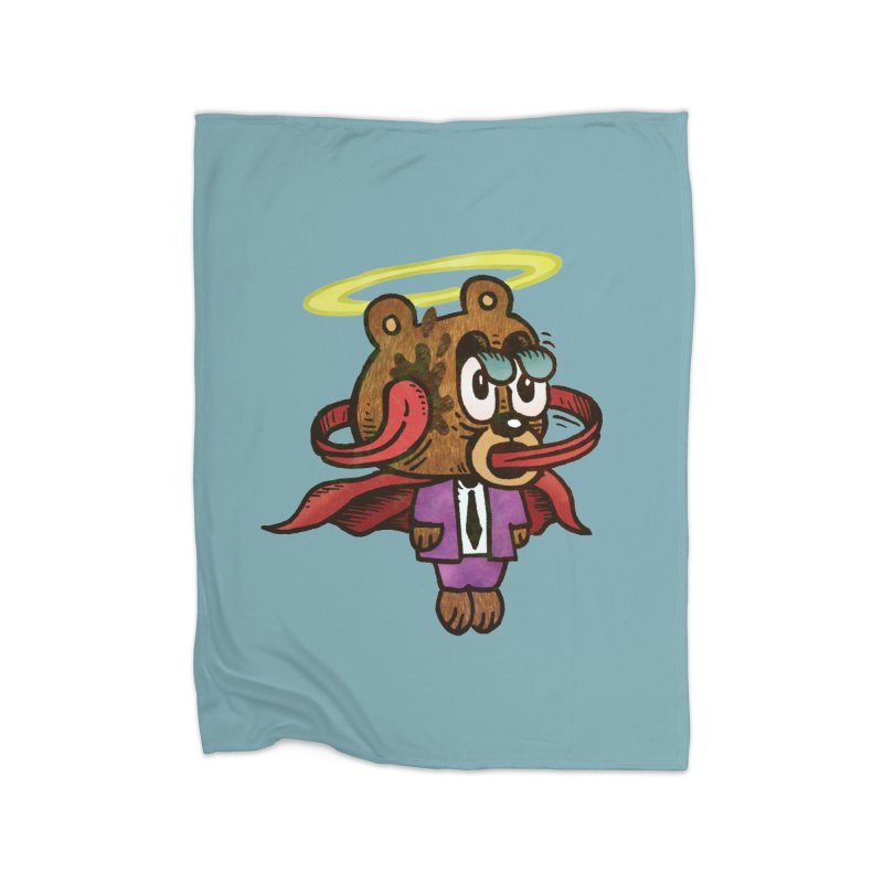 Super Duper Bear Home Fleece Blanket Blanket by vtavast's Artist Shop