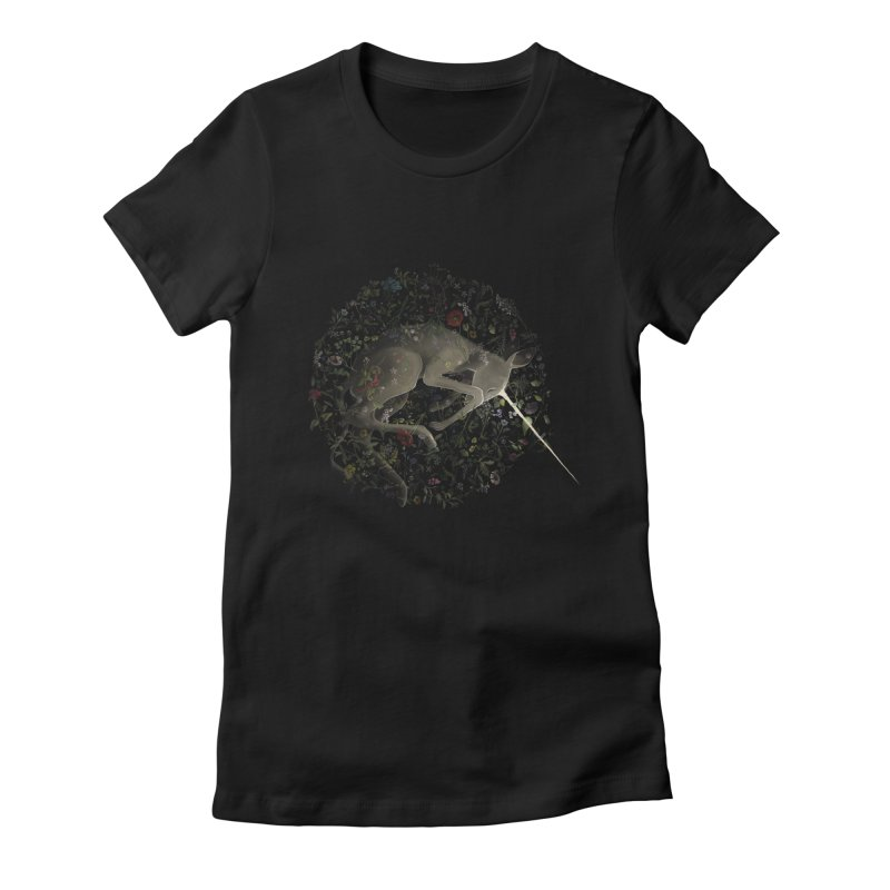 amniotic unicorn Women's Fitted T-Shirt by wabisabi's shop