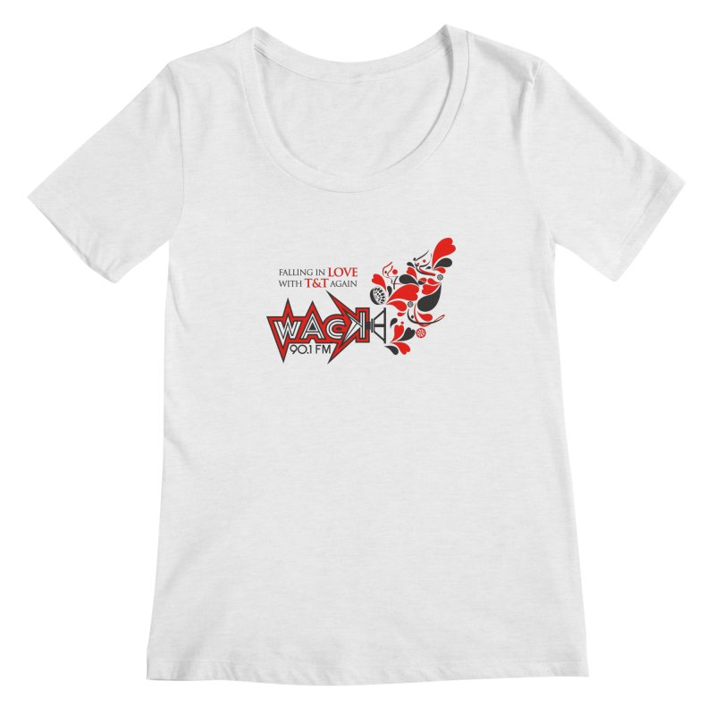 WACK Carnival 2018 Logo in Women's Scoopneck White Fleck Triblend by WACK 90.1fm Merchandise Store