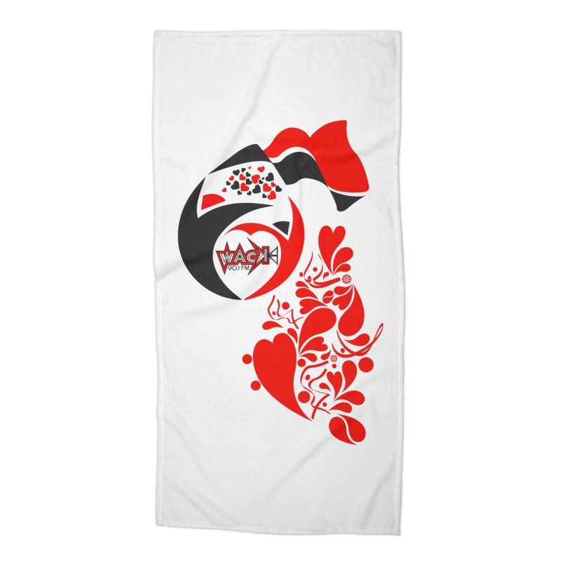WACK Logo & Hearts no text Accessories Beach Towel by WACK 90.1fm Merchandise Store