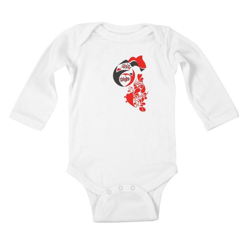 WACK Logo & Hearts no text Kids Baby Longsleeve Bodysuit by WACK 90.1fm Merchandise Store