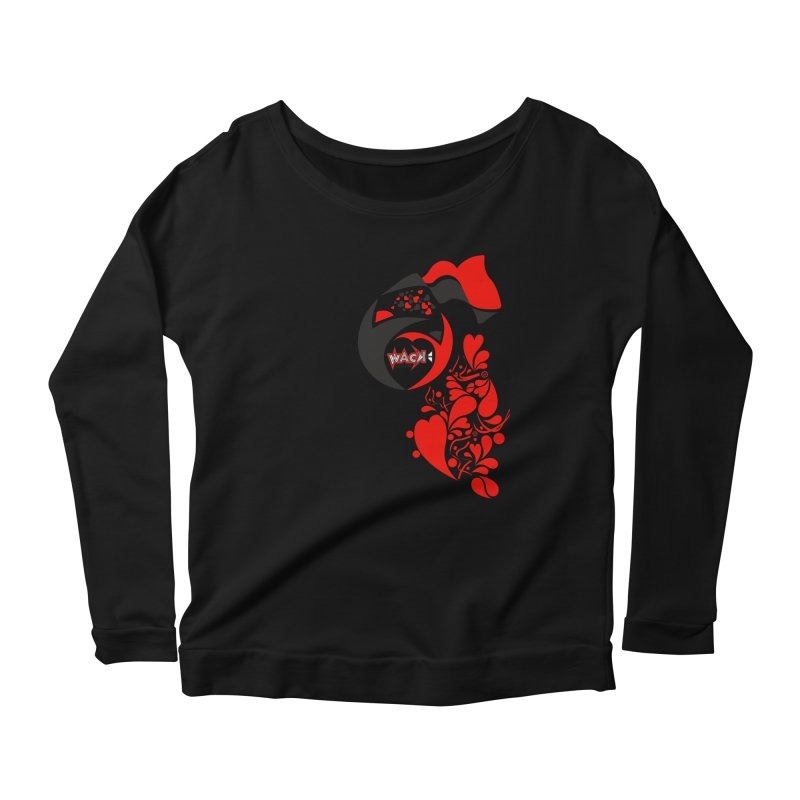 WACK Logo & Hearts no text Women's Scoop Neck Longsleeve T-Shirt by WACK 90.1fm Merchandise Store