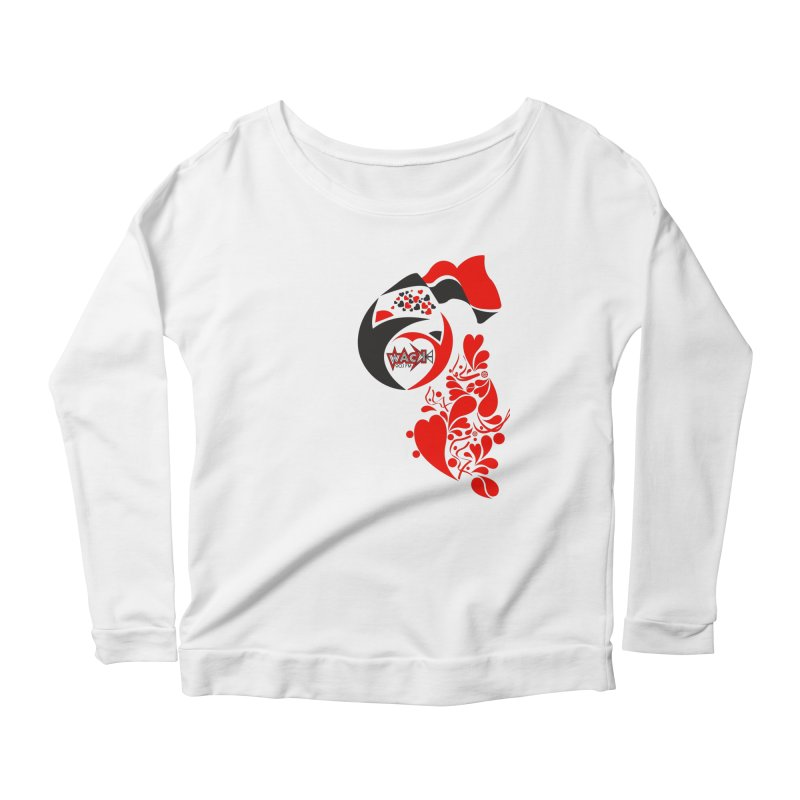 WACK Logo & Hearts no text Women's Scoop Neck Longsleeve T-Shirt by WACK 90.1fm Merchandise Store