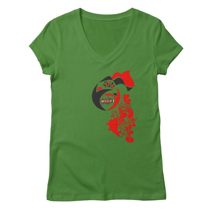 WACK Logo & Hearts no text Women's V-Neck by WACK 90.1fm Merchandise Store
