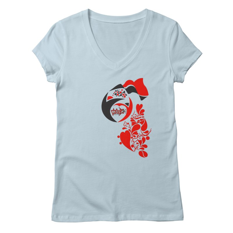 WACK Logo & Hearts no text Women's Regular V-Neck by WACK 90.1fm Merchandise Store