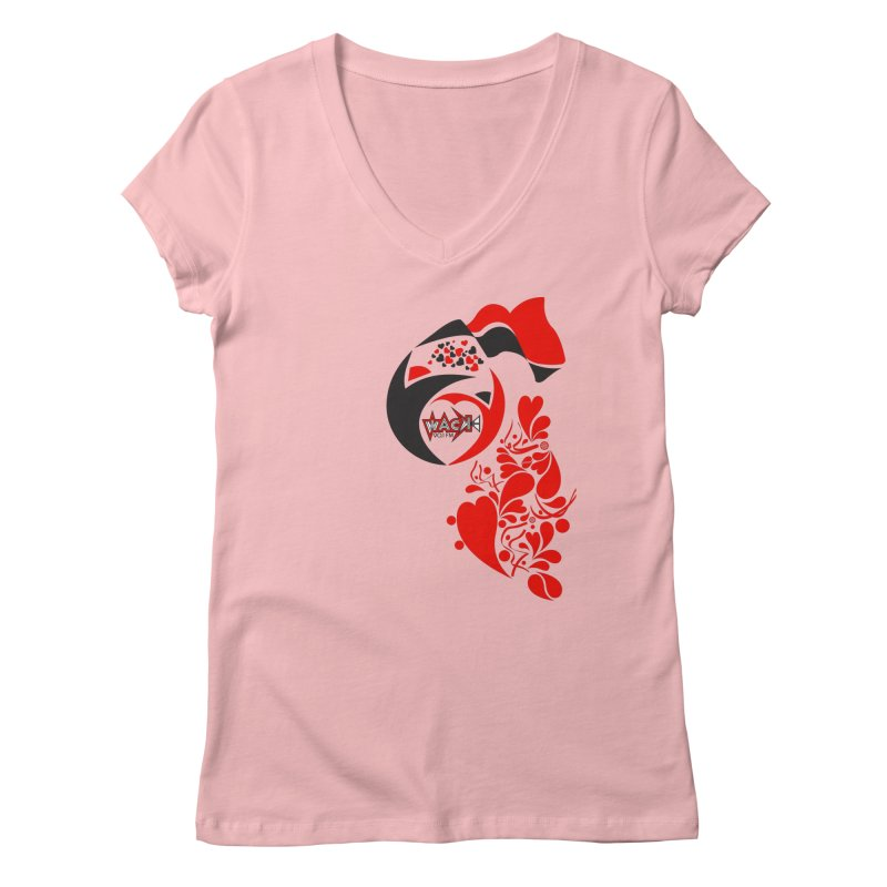 WACK Logo & Hearts no text Women's Regular V-Neck by WACK 90.1fm Merchandise Store