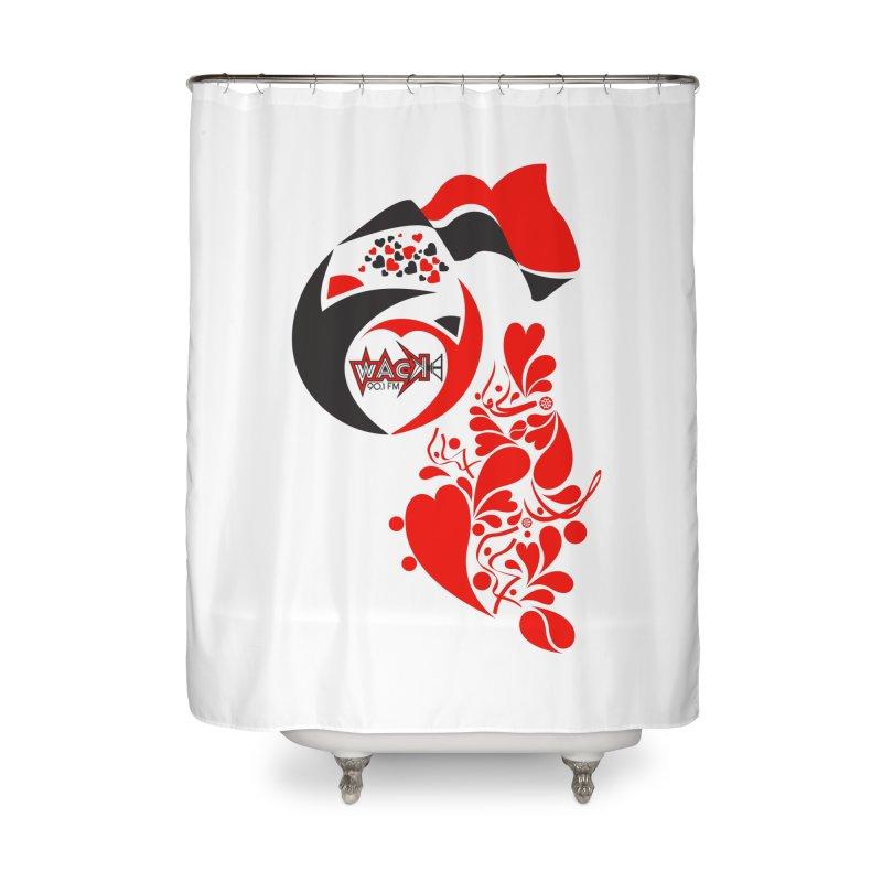 WACK Logo & Hearts no text Home Shower Curtain by WACK 90.1fm Merchandise Store
