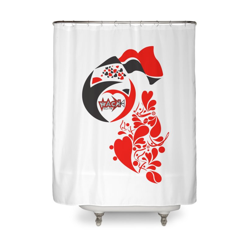 WACK Logo & Hearts no text Home Shower Curtain by WACK 90.1fm Merchandise Store