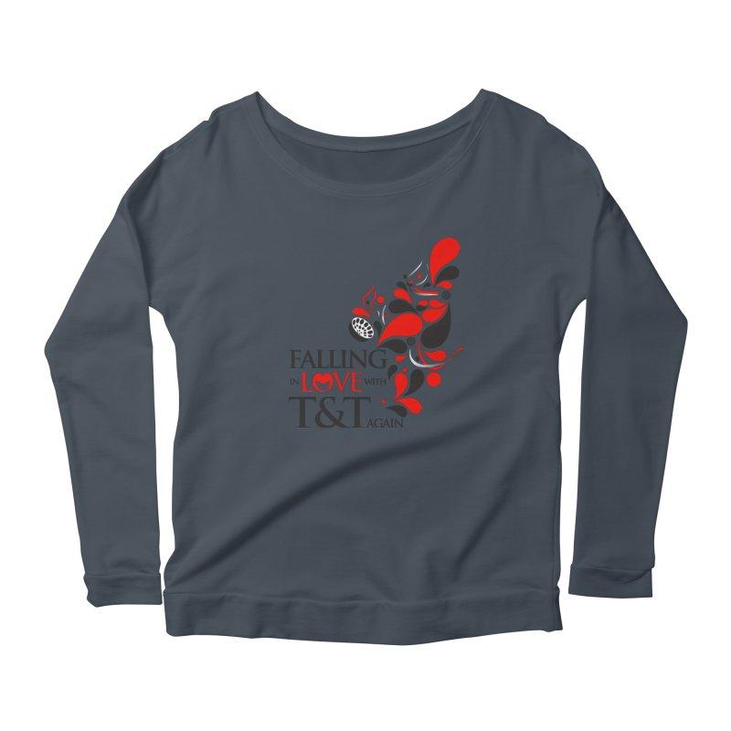 Falling in Love Main logo in Women's Scoop Neck Longsleeve T-Shirt Denim by WACK 90.1fm Merchandise Store