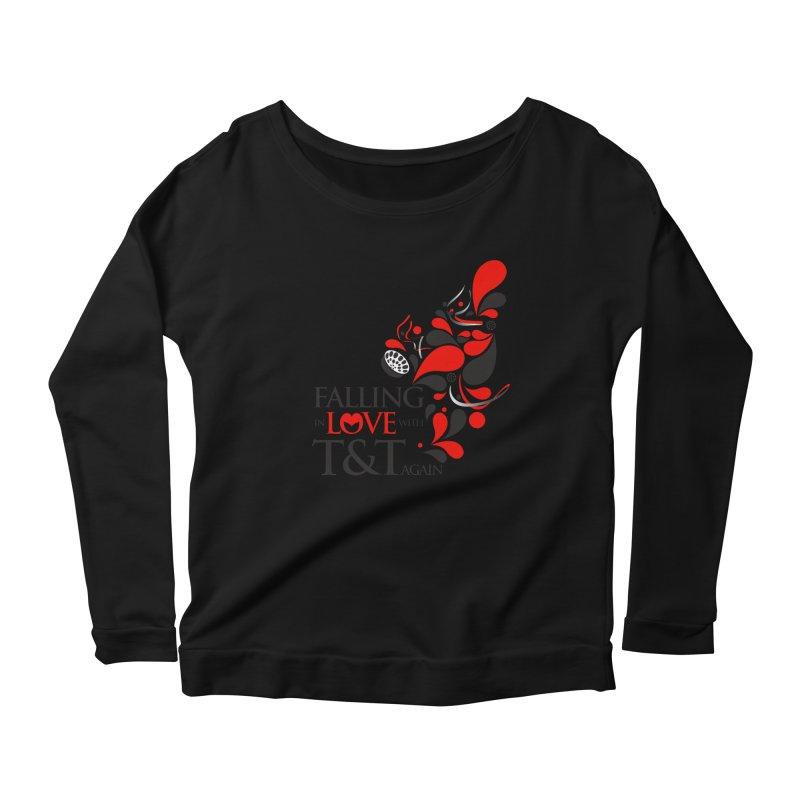 Falling in Love Main logo Women's Scoop Neck Longsleeve T-Shirt by WACK 90.1fm Merchandise Store