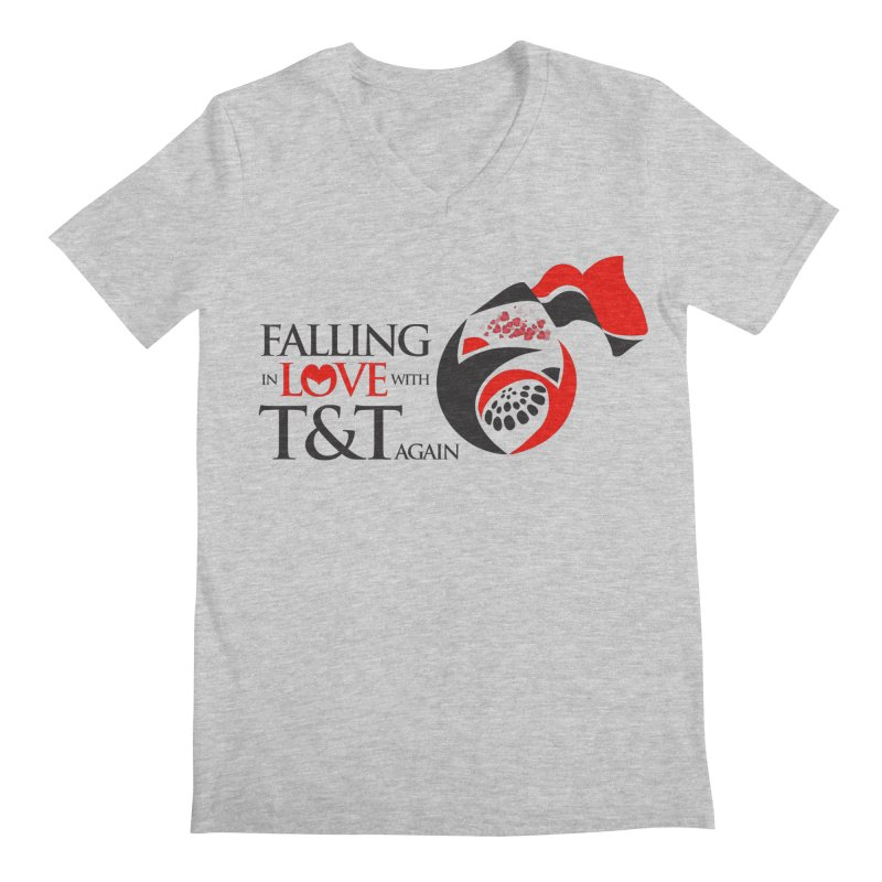 Falling in Love with TT - Round logo with hearts Men's Regular V-Neck by WACK 90.1fm Merchandise Store