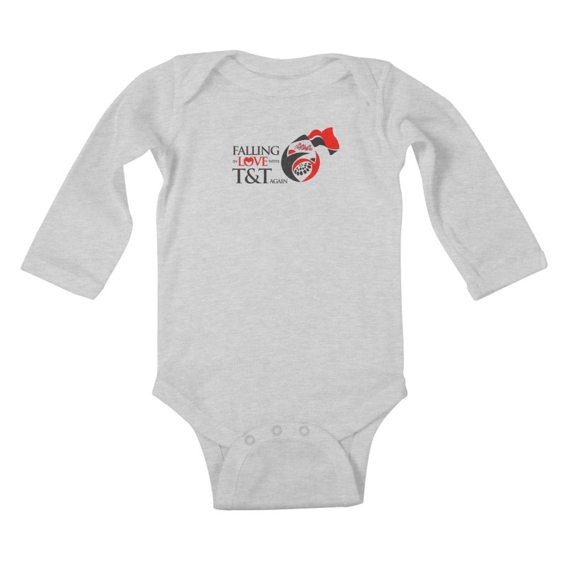 Falling in Love with TT - Round logo with hearts in Kids Baby Longsleeve Bodysuit Heather Grey by WACK 90.1fm Merchandise Store