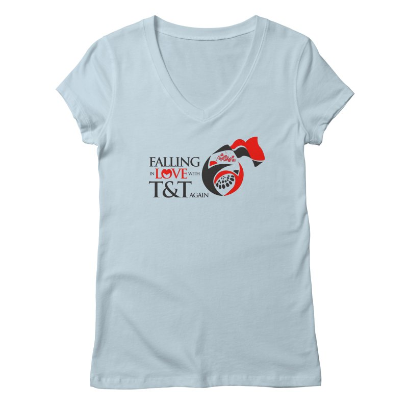 Falling in Love with TT - Round logo with hearts Women's Regular V-Neck by WACK 90.1fm Merchandise Store