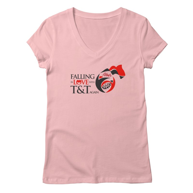 Falling in Love with TT - Round logo with hearts Women's V-Neck by WACK 90.1fm Merchandise Store